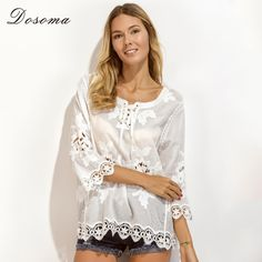 2017 New Spring floral Embroidery Blouse Shirt Women's lace patchwork white hollow Shirt female lace smock sun protection tops *** AliExpress Affiliate's buyable pin. View the item in details on www.aliexpress.com by clicking the image