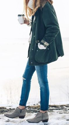 summer outfits  Olive Coat + Ripped Skinny Jeans