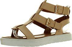 back to basics Via Pinky Fallon-06 Women's Open Toe Strap Flat Gladiator Sandals
