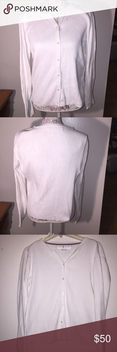 Tommy Hilfinger  jeans white longsleeve cardigan Tommy Hilfinger Jeans Long sleeve white cardigan. 100% cotton. In excellent condition. Tommy Hilfiger Sweaters Cardigans