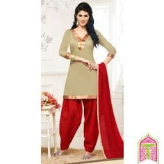 Unstitched Patiala Dress Material-Gold with Red Color cotton casual patiala salwar suit-By Thambi shopping