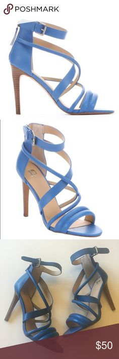 Joe's Blue Leather Cross Strap Zip Up Heels So cute and perfect for spring and summer! Pretty neutral blue tone. Size 7. No noticeable flaws, only worn once. No trades!! 03171780gwf Joe's Jeans Shoes Heels
