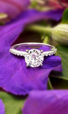 This delicate ring features sheer sparkle that extends halfway around the ring. The center gem appears to float above the delicate band.