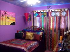 Indian Paradise, Everything in my room has Indian Saris. Its very colorful. I have a theme of sun and moon stuff too. The walls are painted ...