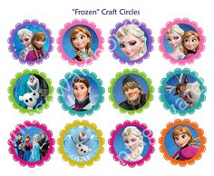 Disney's FROZEN CRAFT CIRCLES -Paper Card  Cupcake Toppers, Round