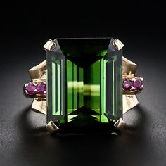 Retro Green Tourmaline and Ruby Ring