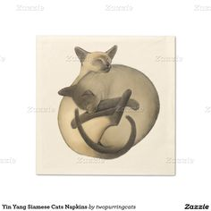 Yin Yang Siamese Cats Napkins Standard Cocktail Napkin