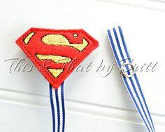 Superman Feltie- Blue Stripe Ribbon- Baby Pacifier Clip- Teething Ring Clip
