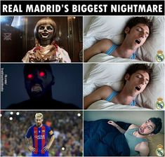Real Madrid's nightmare is the whole Barça team not only Messi Funny Football Memes, Funny Sports Memes, Sports Humor, Soccer Humor, Football Humor, Best Football Players, Football Is Life, Messi Vs Ronaldo, Lionel Messi