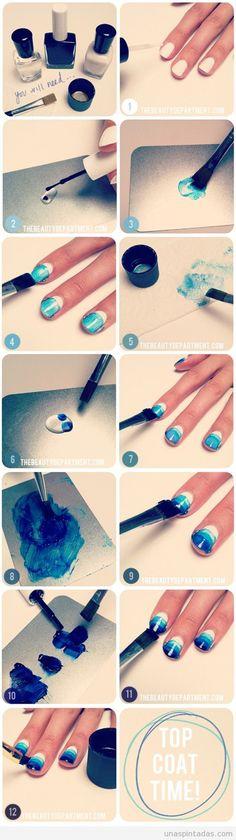 Tutorial paso a paso, decoración de uñas efecto acuarela color azul