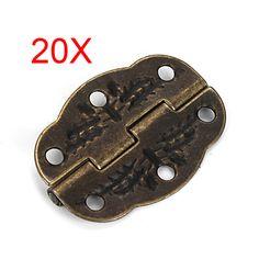 20pcs Vintage Bronze Engraved Designs Hinges Cabinet Drawer Jewelry Box Pack  J2Y