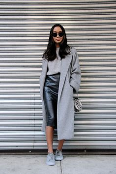 linhniller_leather skirt x sneakers