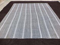 "Large Gray Kilim Rug,9,4""x10,6"" Feet 284x320 Cm Vintage Handmade Turkish Kilim Rug,White Stripe Gray Anatolian Kilim Rug,Nattural Wool Rug."
