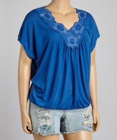 Another great find on #zulily! Royal Blue Floral V-Neck Top - Plus by IRE #zulilyfinds