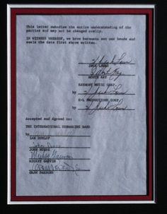 GRAM PARSONS 1967 Signed Contract By Full International Submarine Band BYRDS   eBay