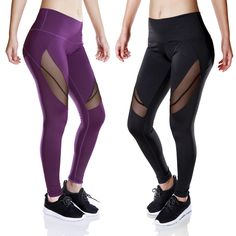 Kaywide 2017 Girl Womens Mesh Patchwork Fitness Running Pants Compression Tights Sport Yoga Leggings Gym Elastic Lady Trousers #Affiliate