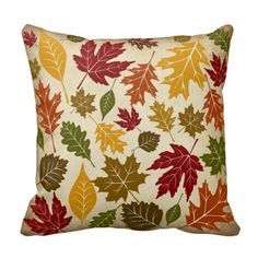 Shop Colorful Fall Autumn Tree Leaves Pattern Throw Pillow created by CollegeCash. Fall Pillows, Decorative Throw Pillows, Fall Home Decor, Autumn Home, Seasonal Flowers, Thanksgiving Decorations, Autumn Decorations, Thanksgiving Gifts, Throw Pillow Cases