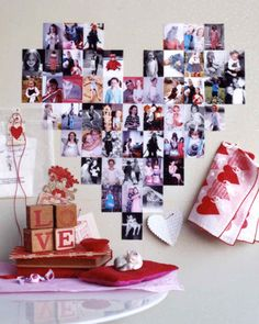 Family photos stack up as playful wall art. Arrange same-size vertical snapshots in a grid using removable double-sided tape.