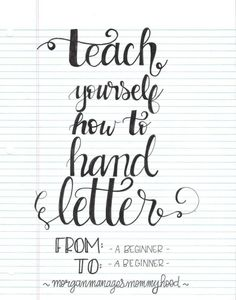 Here's another simple approach to teaching yourself to hand letter. Once again it requires only paper and a pen, no need for special equipment or to download special sheets. Follow Morgan&#82…