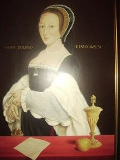 Photo of a modern portrait of Anne Boleyn  This is said to be a photo of a modern portrait of Anne Boleyn commissioned for Castle Lodge in Ludlow. A lovely 3/4 portrait full of symbolism! Artist at this stage is unknown.