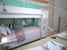 Návrh interiéru bytu Romantika v akcii, pohľad na poschodovú posteľ v detskej izbe Bunk Beds, Loft, Furniture, Home Decor, Nostalgia, Decoration Home, Loft Beds, Room Decor, Lofts