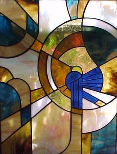 library/office fantasy 1920 Art Deco Stained Glass