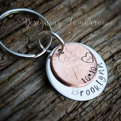 Personalized metal stamped Baby Name and Custom Birthday keychain by DesigningTomorrow