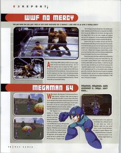 N64 Gamer #30, August 2000 - Preview of WWF No Mercy and Mega Man 64, aka Megaman Legends.  Follow oldgamemags on Tumblrfor more awesome sc...