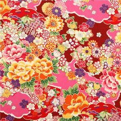 black-red Asia flower Kokka fabric from Japan - Flower Fabric - Fabric - kawaii shop Japanese Textiles, Japanese Patterns, Japanese Prints, Japanese Fabric, Large Abstract Wall Art, Large Canvas Wall Art, Extra Large Wall Art, Japan Flower, Fabric Print Design
