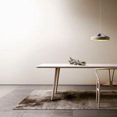 Marble table + wishbone chair