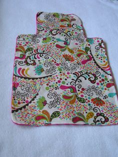 Pink Peacock Vinyl and Minky Travel Changing Pad via Etsy