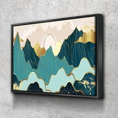Framed Canvas Home Artwork Decoration Abstract Mountain Nature Scenery Canvas Wall Art for Living Room Bedroom Canvas Wall Art Ready to Hang - 4 Panel/XL/68x44 / Gallery Wrap