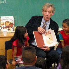 Sir Ian reading to the kids.