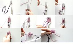 make flowers with yarn and a fork