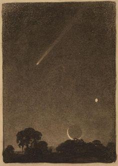 Halleys Komet im Morgengrauen, 1909 Von Elizabeth Shippen Green - Sally Constellations, Halley's Comet, Gravure Illustration, Arte Obscura, Moon Art, Photomontage, Stargazing, Stars And Moon, Aesthetic Art