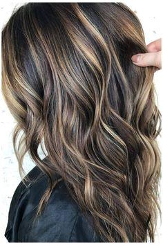 Dark Brown Hair With Blonde Highlights, Brown Hair With Lowlights, Hair Highlights And Lowlights, Dark Brunette Hair, Brown Hair Balayage, Brunette Color, Highlights For Brunettes, Dark Highlighted Hair, Bayalage On Dark Hair