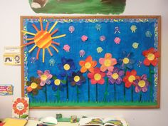 """Preschool Spring Bulletin Board - Inspired by Eric Carle's """"The Tiny Seed"""". Students painted or glued tissue paper to large sheets of paper, then cut out flower petals, stems, and sun. Creative Curriculum Preschool, Preschool Classroom, Preschool Ideas, The Tiny Seed, Spring Bulletin Boards, Art Projects For Teens, Eric Carle, Flower Petals, Healthy Dinner Recipes"""