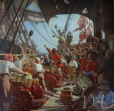 Sanctioned by the English queen, buccaneers roamed the oceans preying on Spanish treasure galleons; were they pirates or privateers? Pirate Queen, Pirate Art, Peter Pan Art, Old Sailing Ships, Ship Paintings, Smart Art, Wooden Ship, Nautical Art, Historical Art