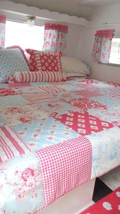 Lovely quilt, pillows and curtains in cornbreadandbeansquilting's caravan