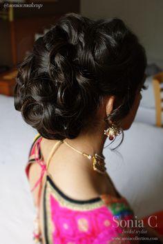 sangeet hair and makeup, bridal undo, bun with curls, smokey eye, polki diamonds, pearls, indian bride, dulhan, sonia c