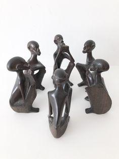 African Wooden Figures, Vintage Set of 6 African Figures