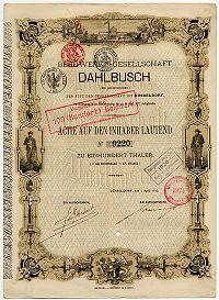 Dahlbusch Gründer Aktie , Düsseldorf 1876 , 2 Blätter ind deutscher und frz. Sprache