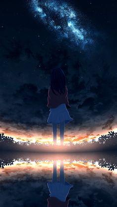 Dark Anime Girl, Anime Girl Cute, Kawaii Anime Girl, Anime Art Girl, Look Wallpaper, Anime Wallpaper Live, Anime Scenery Wallpaper, Sky Anime, Anime Galaxy