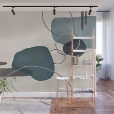Linkedin Abstract in Sage Green, Cinnamon and Charcoal Grey Wall Mural by simplydesign Bedroom Wall, Bedroom Decor, Wall Decor, Mural Wall Art, Teen Room Decor, Aesthetic Room Decor, Grey Walls, Wall Colors, Wall Design