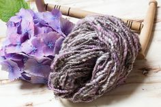 Lilac melange hand spun art yarn. Beaded yarn. Sun catching art yarn. Unique blend art yarn.  2 skeins almost identical! by DreamsSanctuary on Etsy