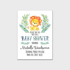 Lion Baby Shower Save The Date Printable Safari Baby Shower Save The Date Jungle Baby Shower Save The Date Boy Baby Invite 5x7 Digital File by MossAndTwigPrints on Etsy