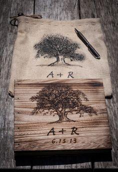 Rustic Oak Tree Wedding Guestbook and Pen Set