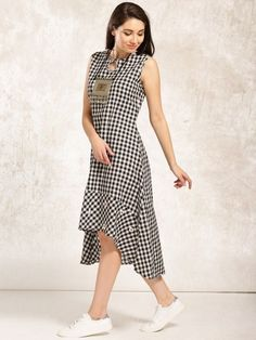 Buy Anouk Women White & Black Checked A-Line High-Low Kurta online Silk Kurti Designs, Tunic Designs, Salwar Designs, Dress Neck Designs, Saree Blouse Designs, Western Dresses, Indian Dresses, Frock Style Kurti, A Line Kurti