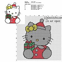 Hello Kitty with Christmas present free cross stitch pattern size 70 x 91 stitches and 6 DMC threads