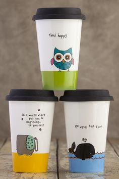 Thermal Mugs From Natural Life: Think happy In a world where you can be anything - be yourself. Go with the flow. Thermal Travel Mug, Thermal Mug, Travel Mugs, My Coffee, Coffee Time, Coffee Cups, Mother In Law Gifts, Diy Mugs, Owl Always Love You